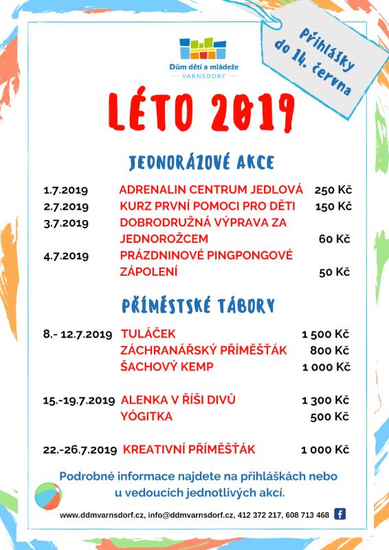 Nabídka akcí na léto 2019